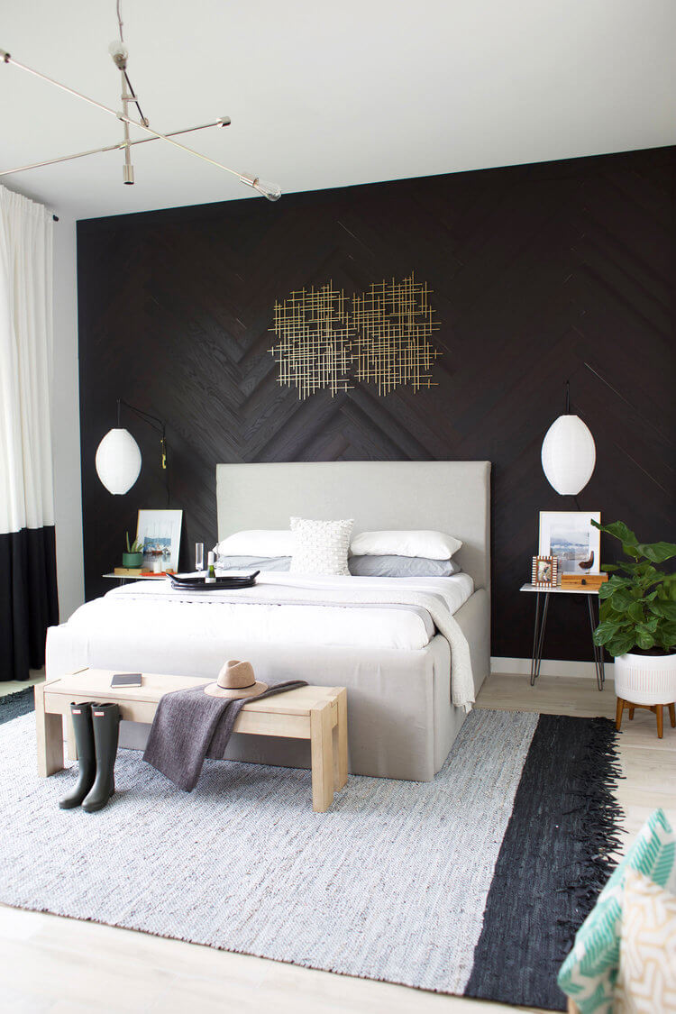 Wood Grain Black Bedroom Decoration Ideas