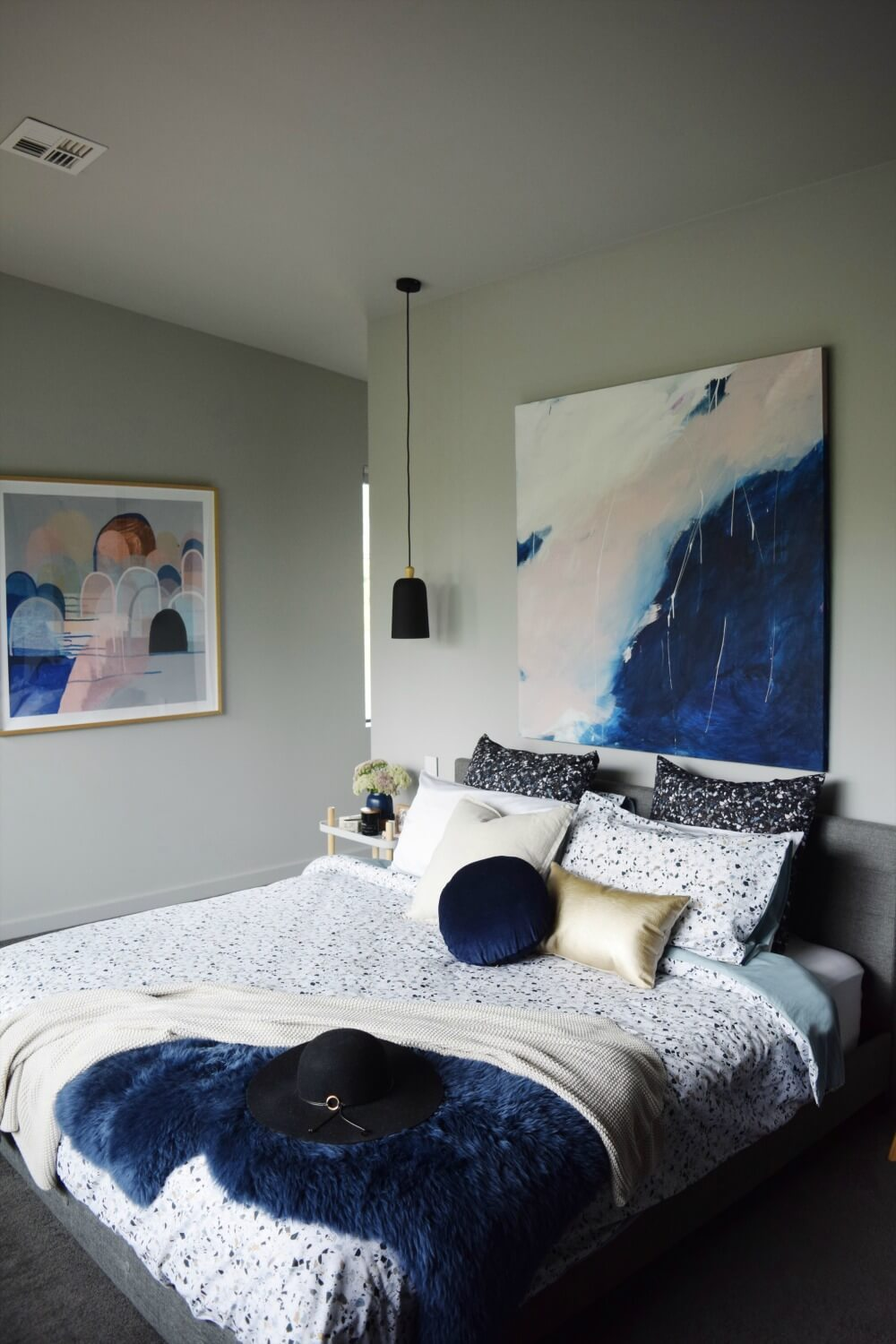 Navy Watercolor Artwork and Decorative Accents