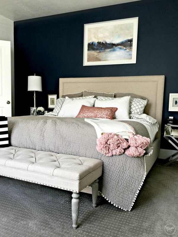 Navy Blue Bedroom Accent Wall with Greige and Blush Perfection