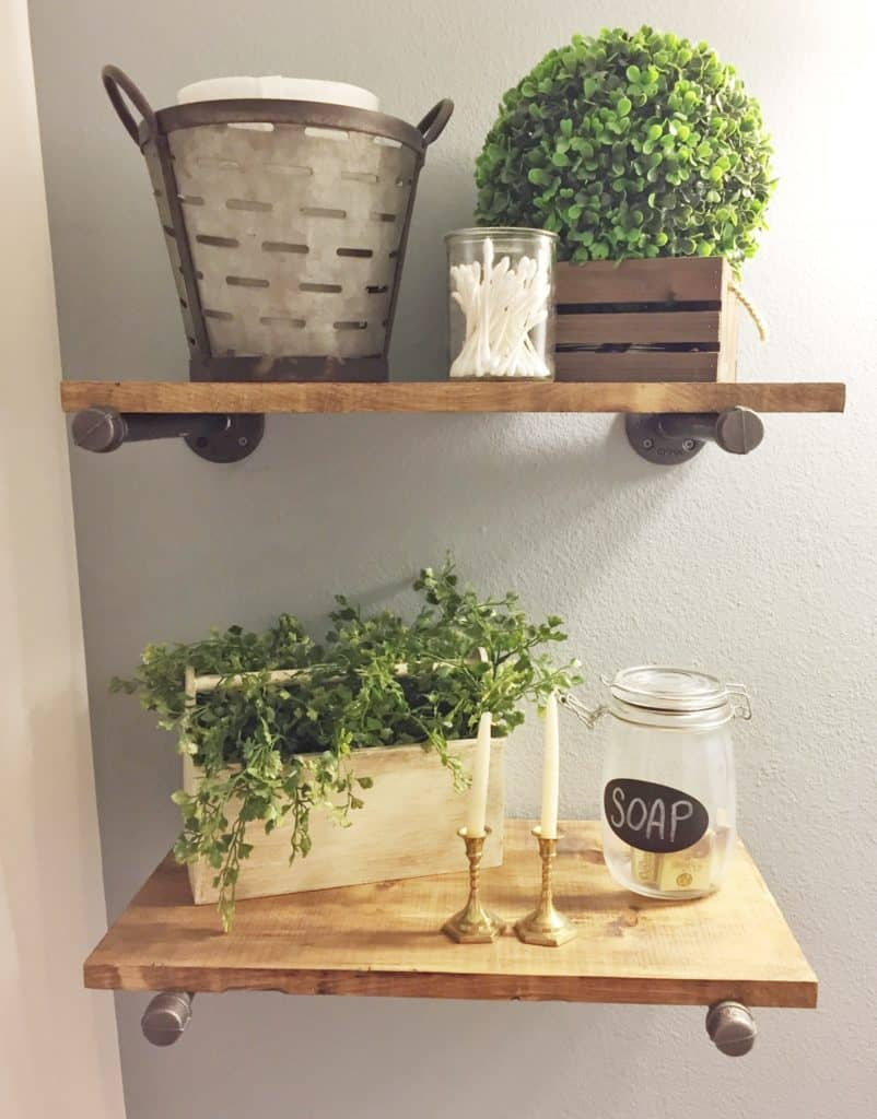 Warm and Welcoming Pewter and Wood Shelves