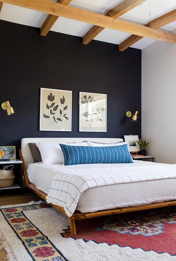 Warm, Textured and Eclectic Navy Blue Bedroom