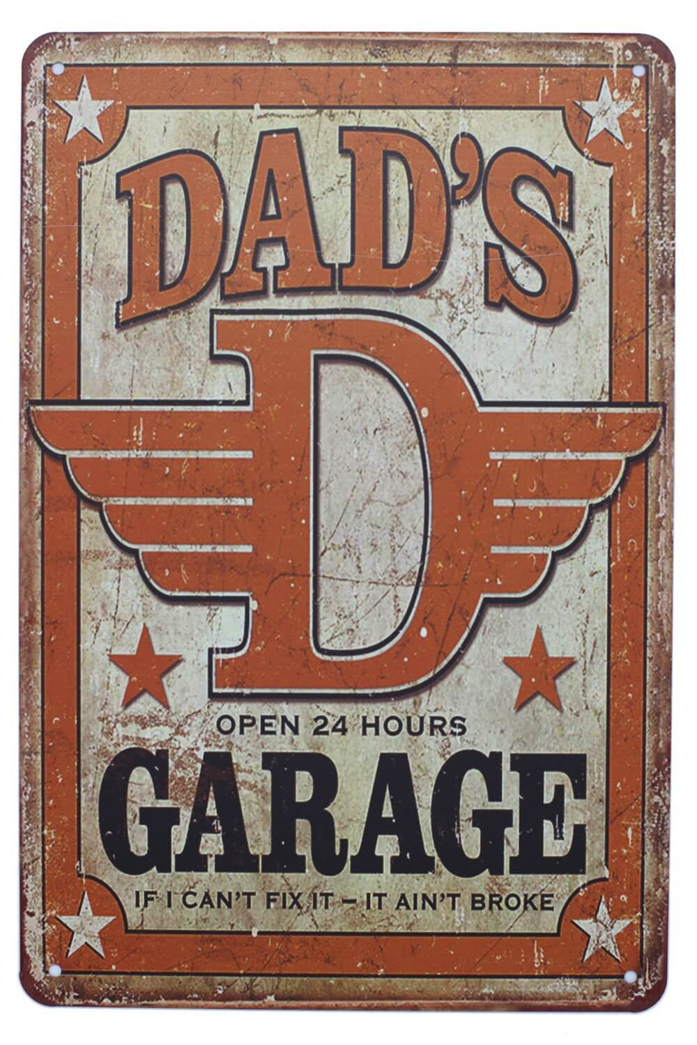 Dad's 24-Hour Garage Vintage Metal Sign