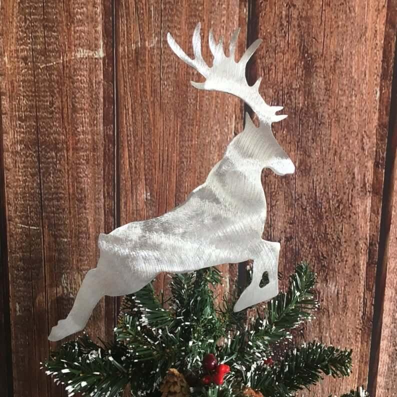 Handmade Aluminum Metal Reindeer Tree Topper