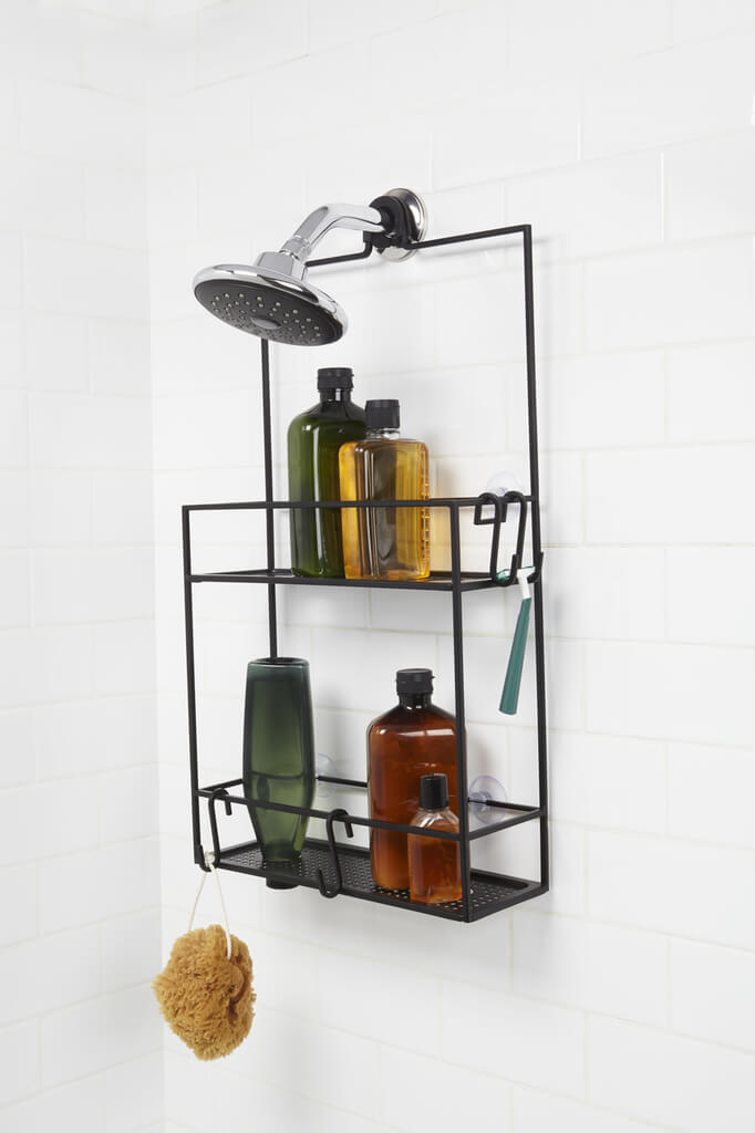 Black Wire Caddy with Hanging Hooks