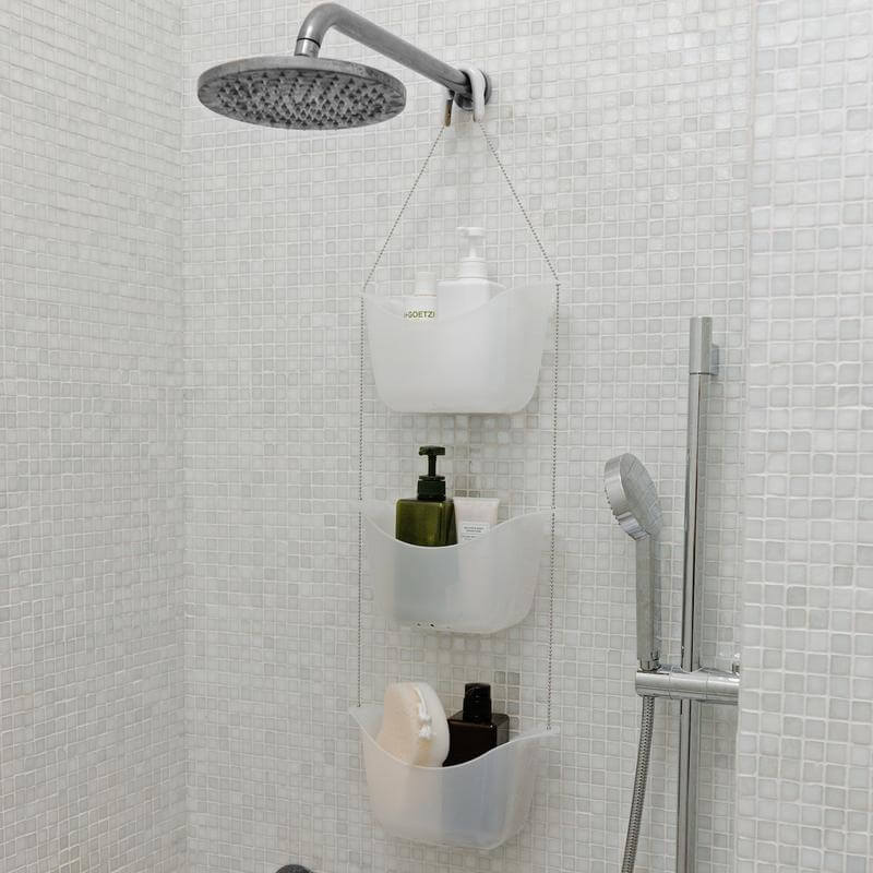 White Plastic Hanging Shower Baskets
