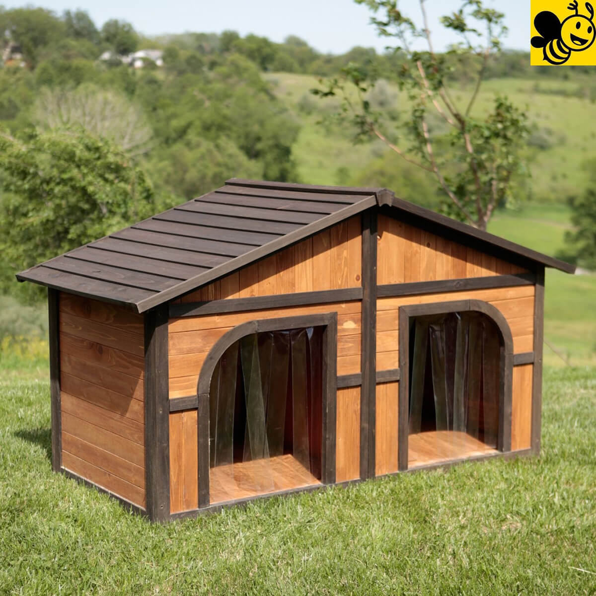 Home Design Ideas For Dogs: Two-Sided Outdoor Dog Kennel Homebnc