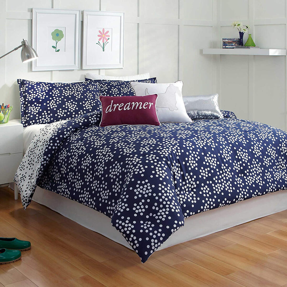 Preppy Navy Blue Bedroom and White Reversible Bedding