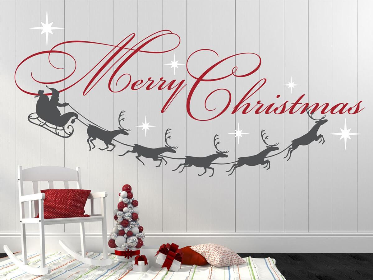 Merry Christmas Santa and Reindeer Wall Decal