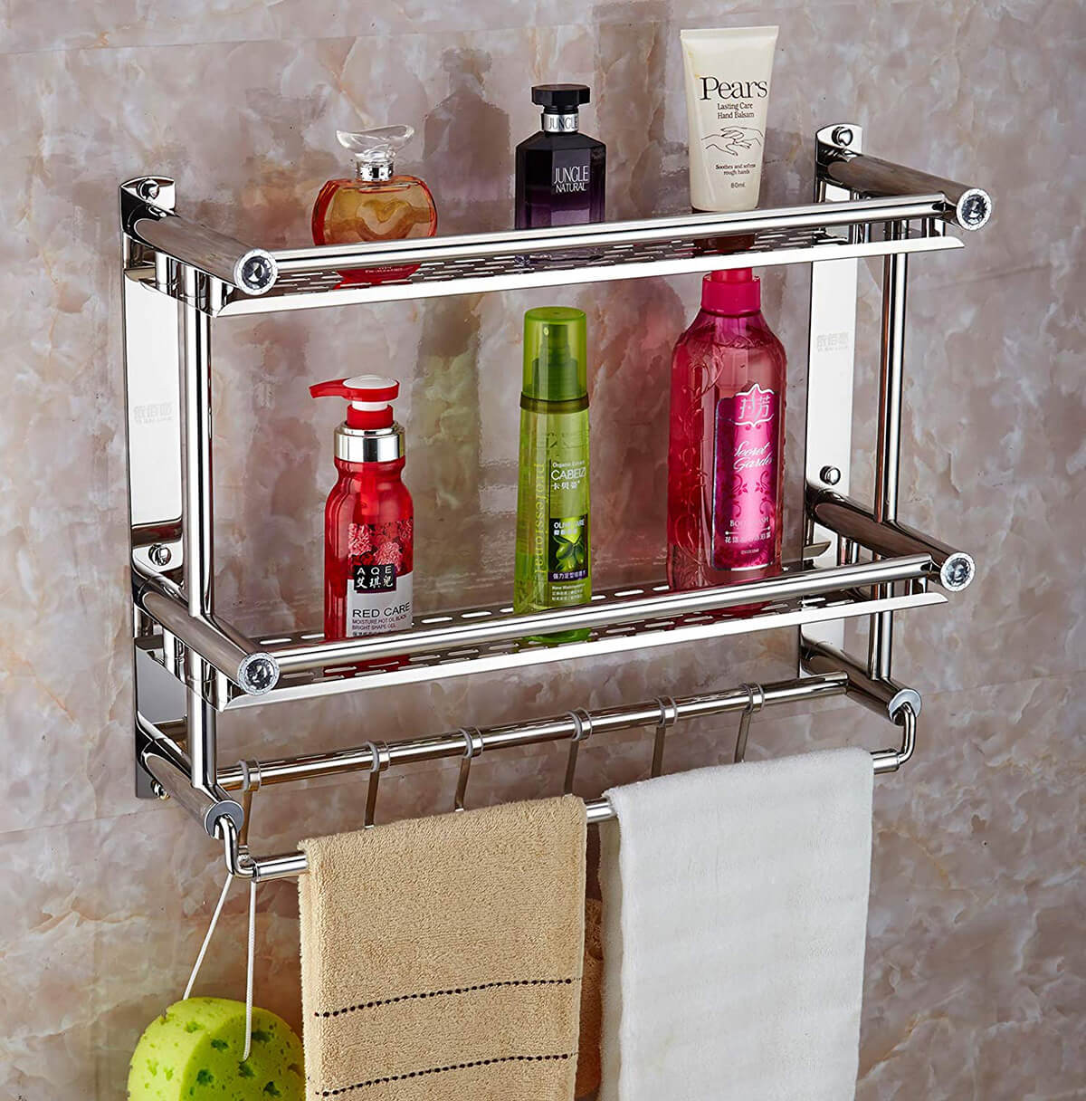 Classic Metal Shelves Shower Storage Idea