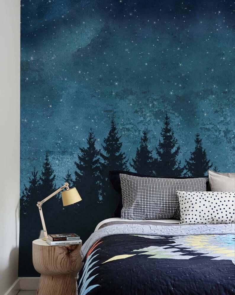 Starry Sky and Forest Treeline Bedroom Mural