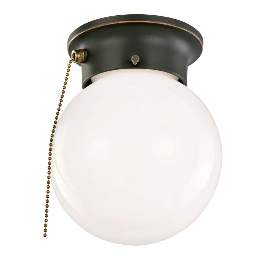 Pull String White Orb Light