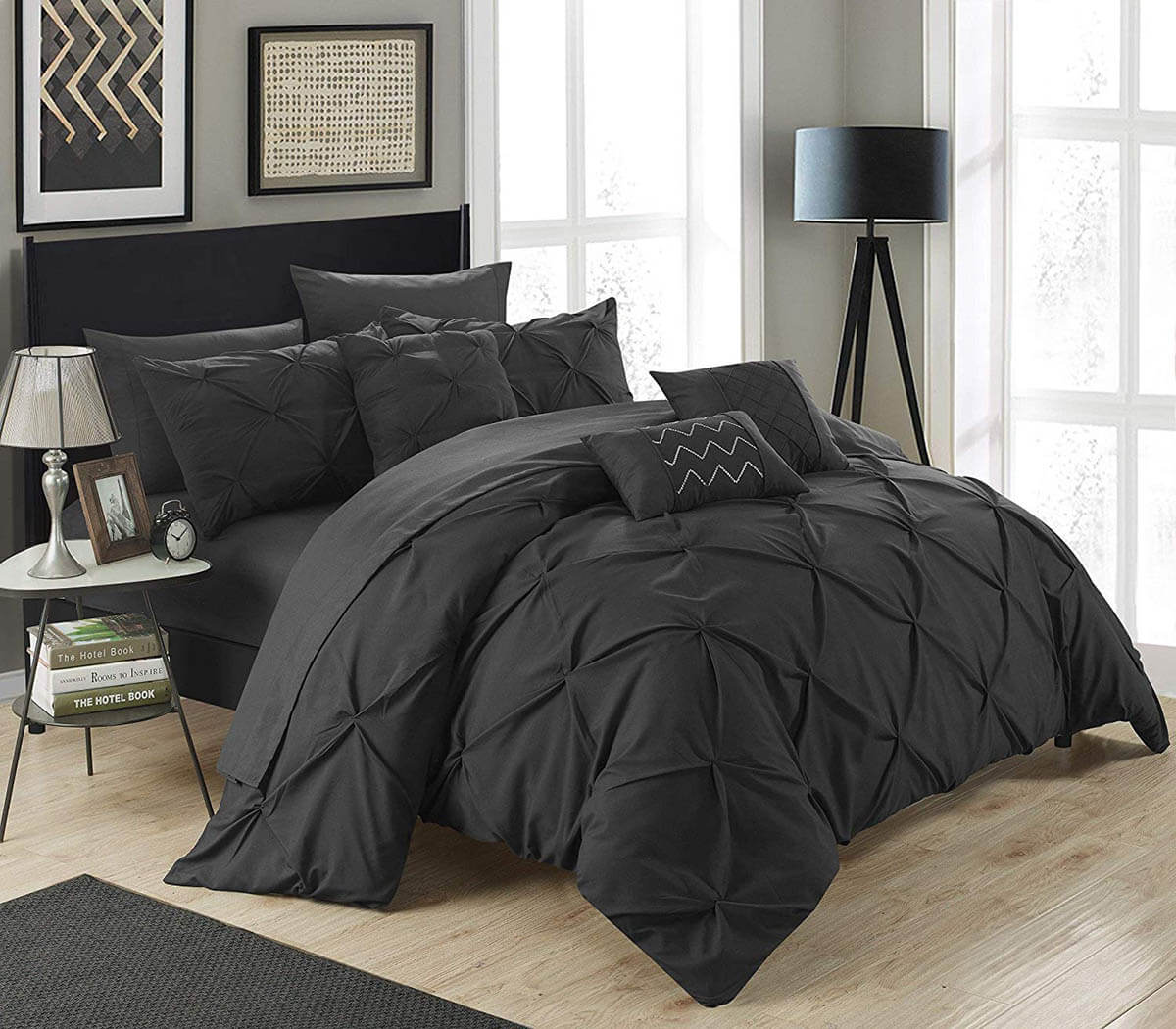 Grey and Black Color Scheme Bedroom Designs