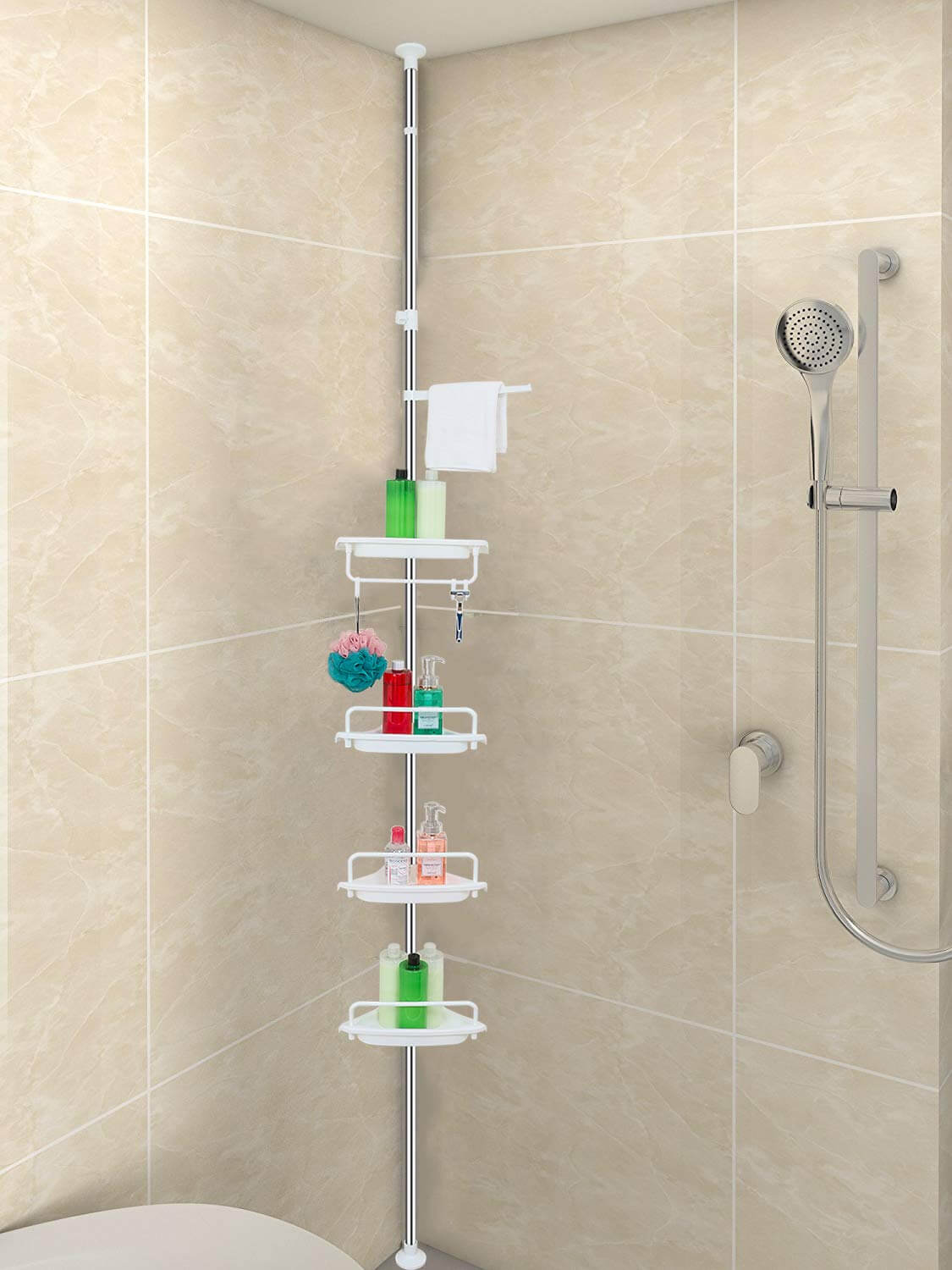 Four-Shelf Shower Corner Organizer