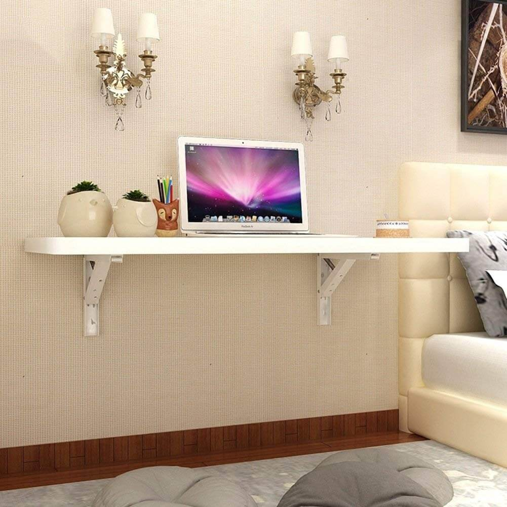 Long White Wall Mounted Desk Idea