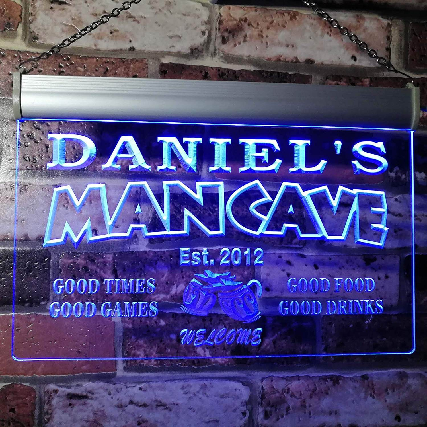 Personalized Modern Neon Man Cave Sign