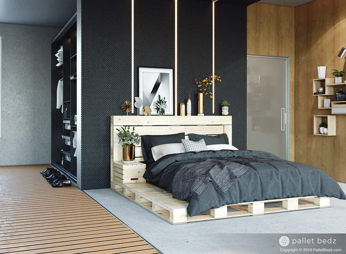 Modern Minimalist Raw Pallet and Crate Bed