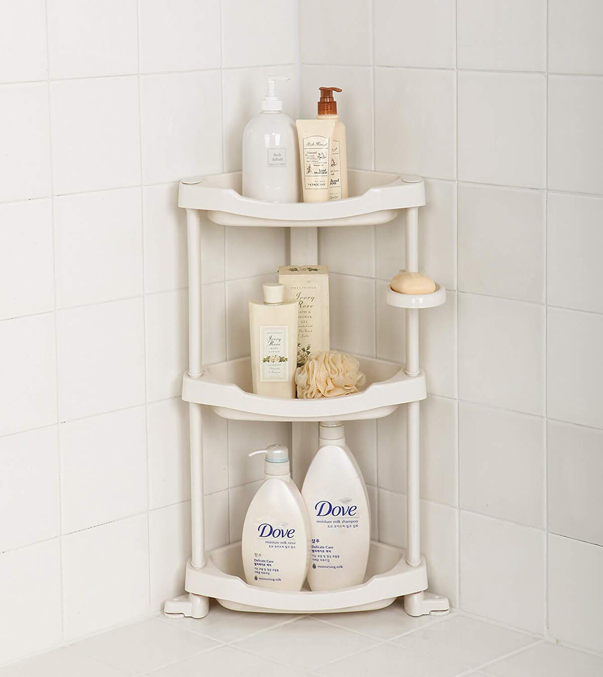 Simple and Compact Plastic Corner Shelf