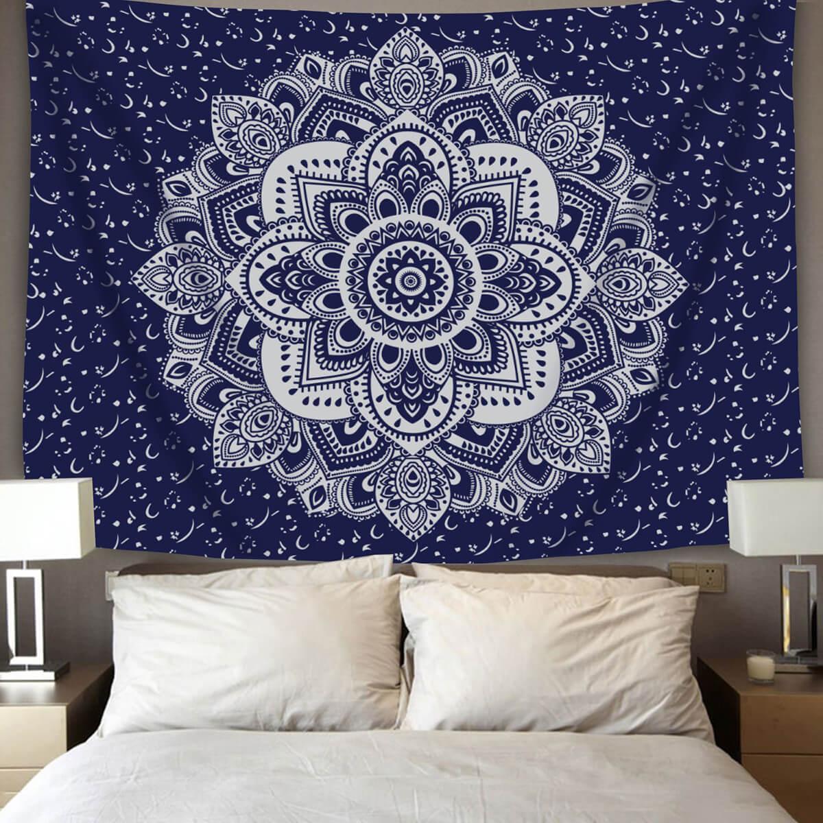 Navy Blue Mandala Print Wall Tapestry