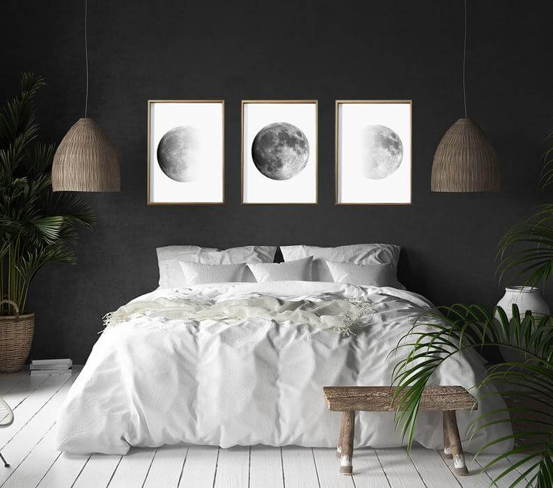Phases of the Moon Black Bedroom Ideas