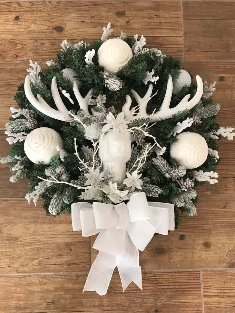 White Holiday Wreath Reindeer Christmas Decor