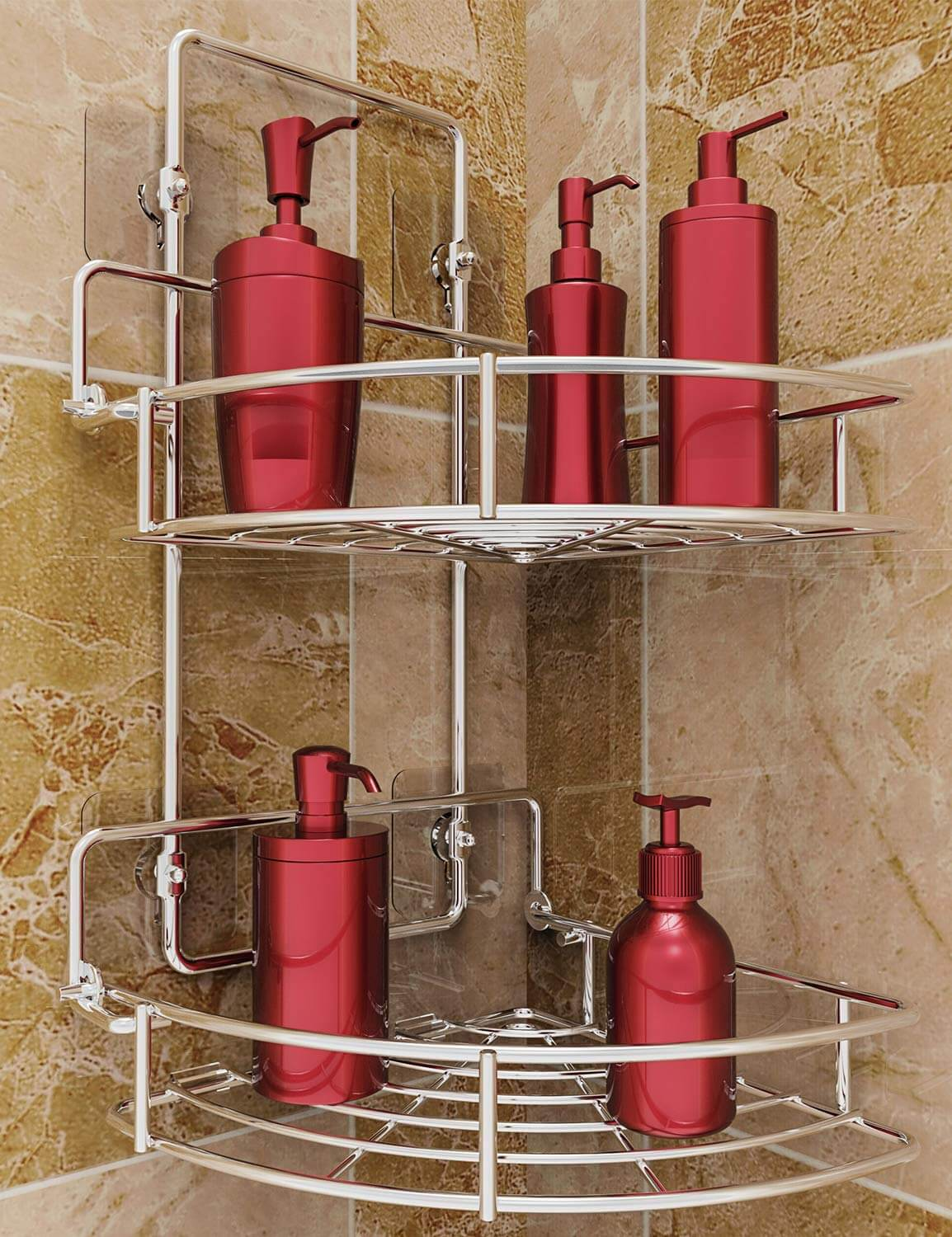 Sturdy Suctioned or Drilled Shower Storage Idea