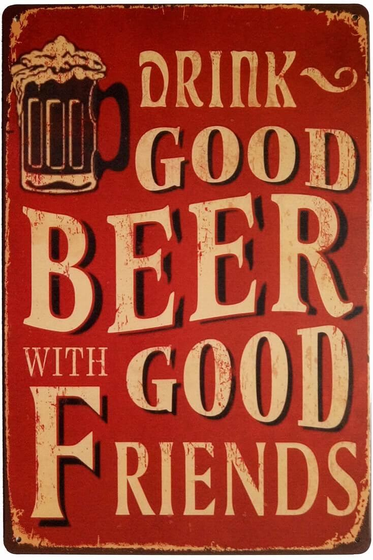 Retro Beer and Friends Tin Sign