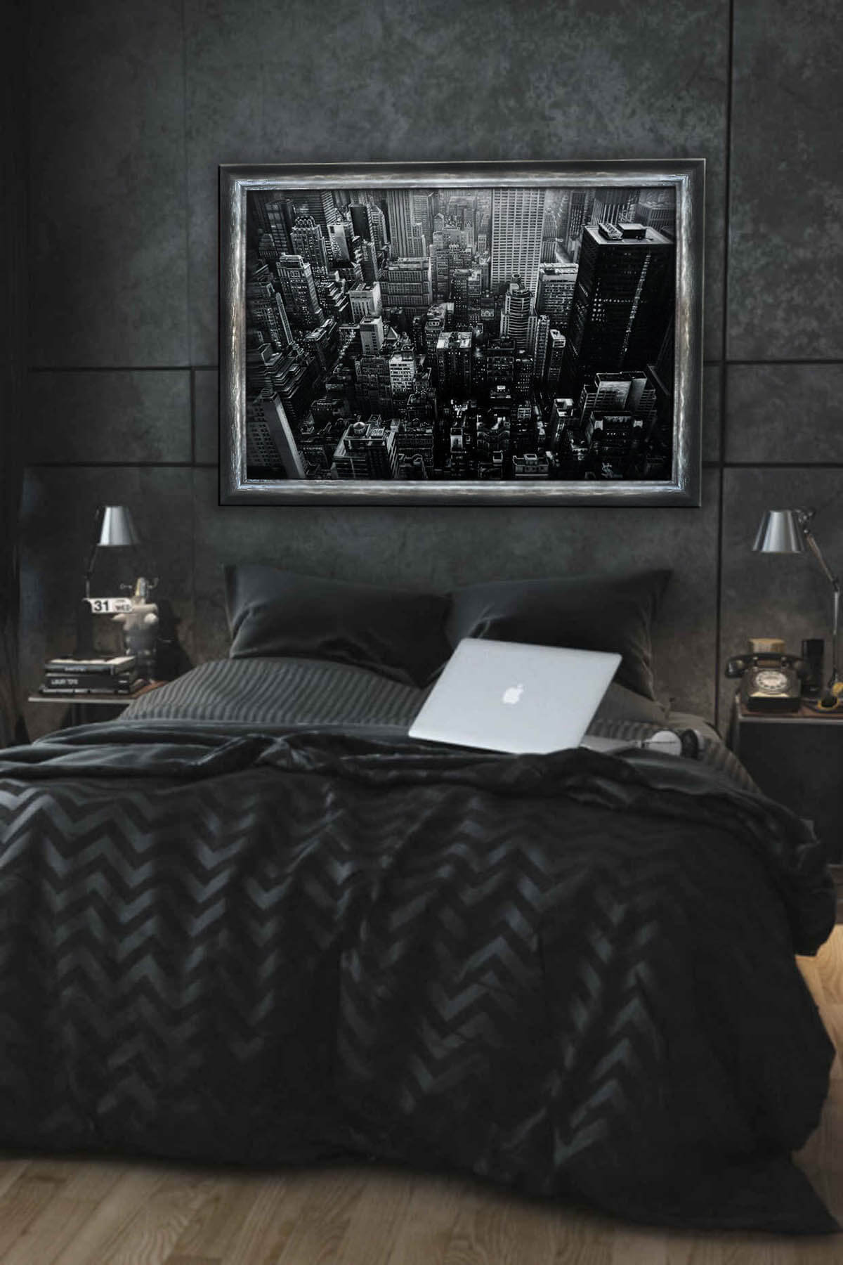 Night In The City Black Bedroom Design Idea