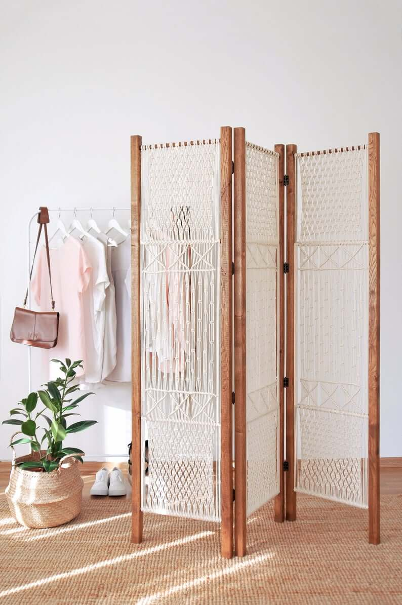 Simply Chic Macrame 3-Panel Room Divider