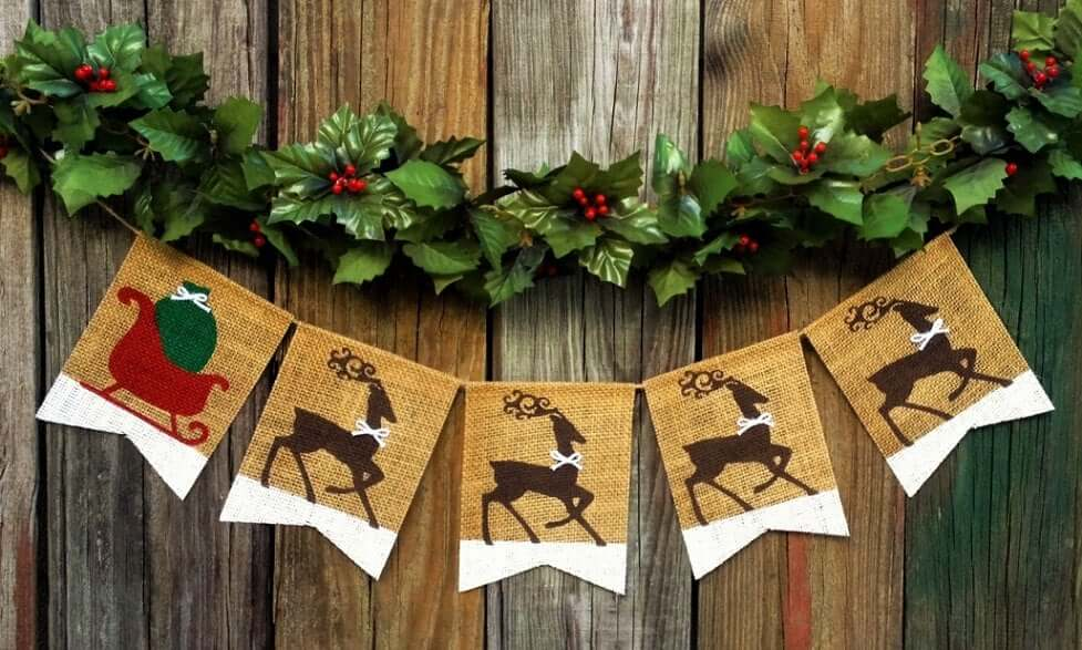 Holiday Burlap Banner with Santa's Sleigh and Reindeer