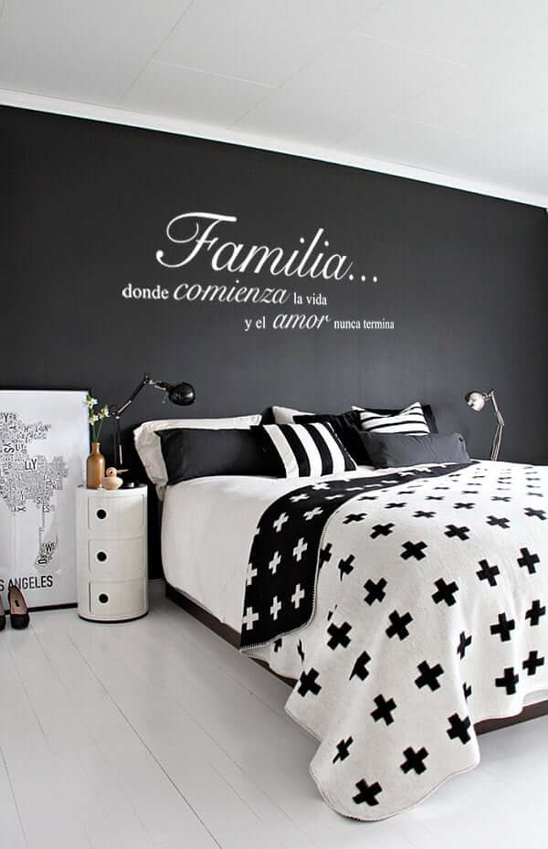 Familia Wall Art Black Bedroom Design Idea