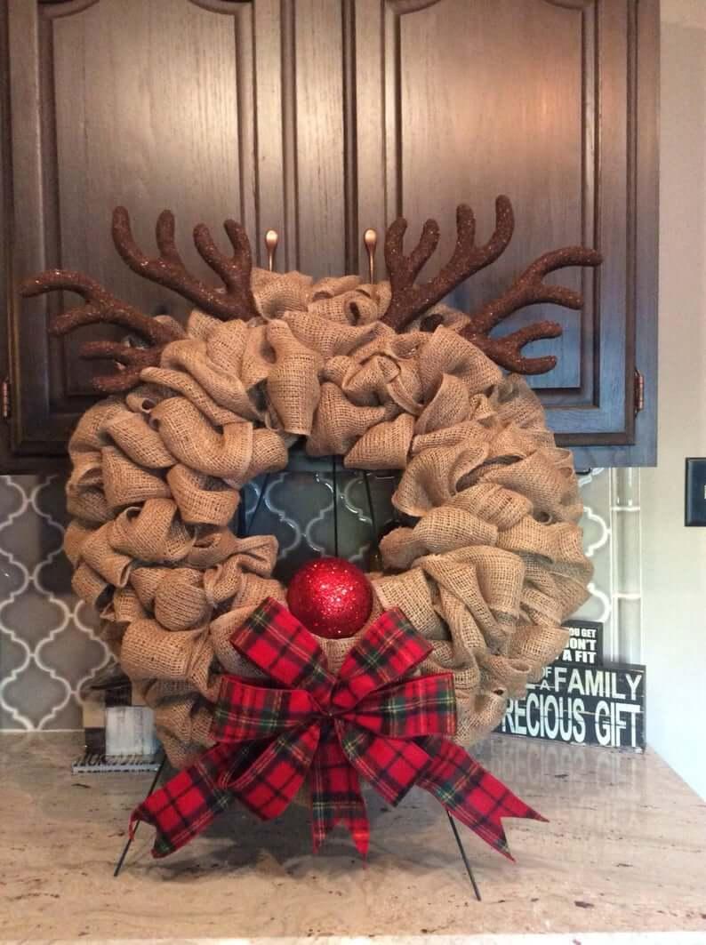 Beautiful Burlap Reindeer Wreath Featuring Rudolph