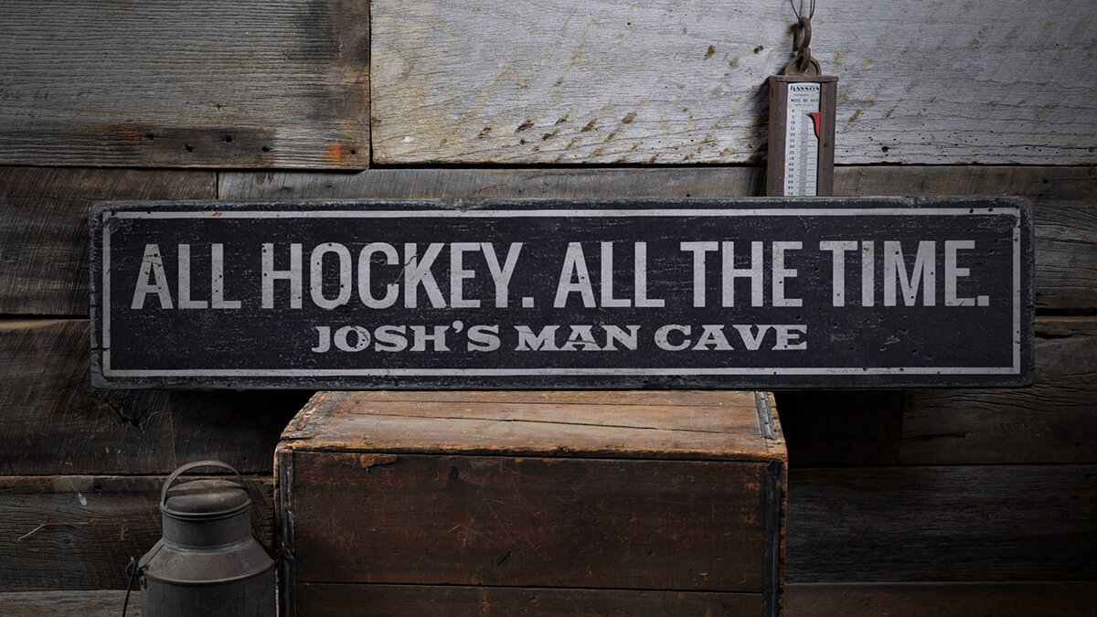Handmade Vintage Wooden Man Cave Sign