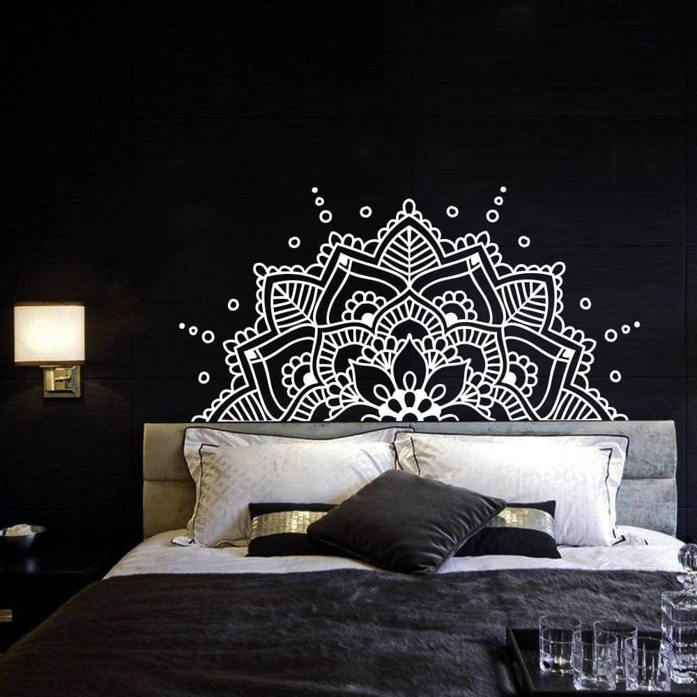 Abstract Flower Black Bedroom Design Idea