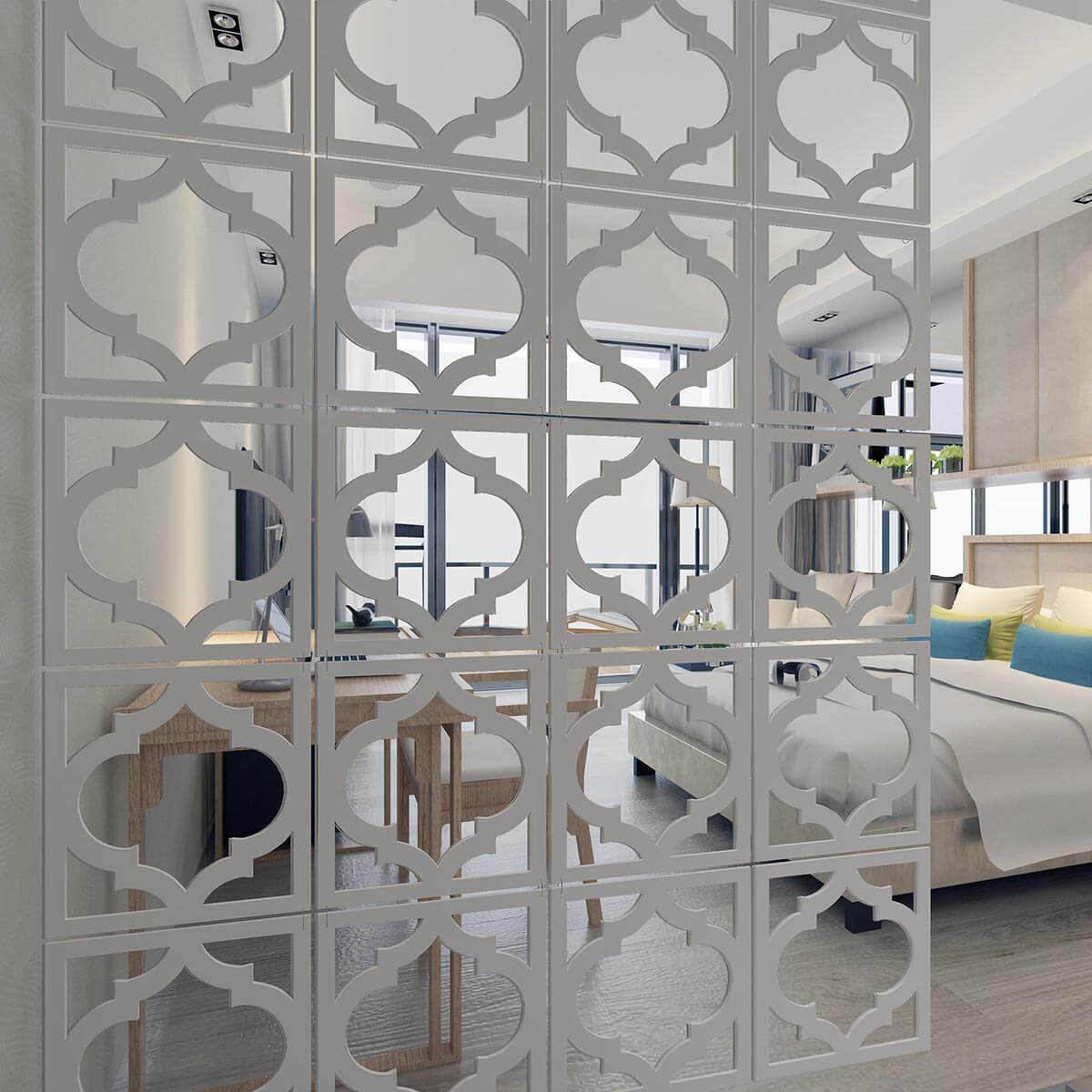 Trellis Pattern Adjustable Hanging Room Divider