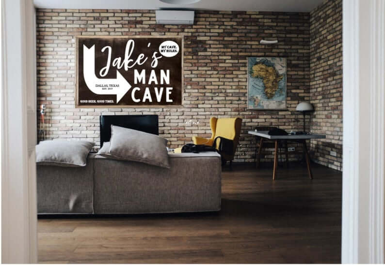Personalized Wooden Farmhouse-Style Man Cave Sign