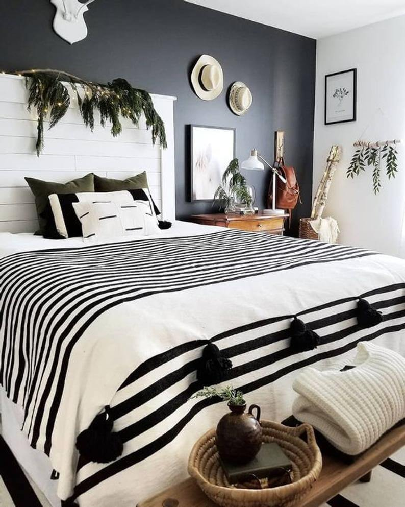 Twinkle Tropical Black Bedroom Design Idea