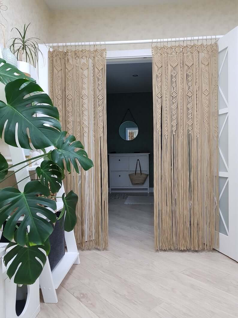 Macrame Curtains on Hanging Rod