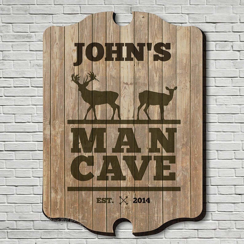 Custom-Designed Text Man Cave Sign