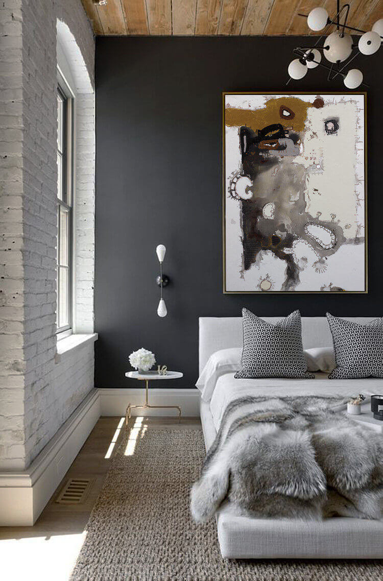 Contemporary and Abstract Black Bedroom Design Idea