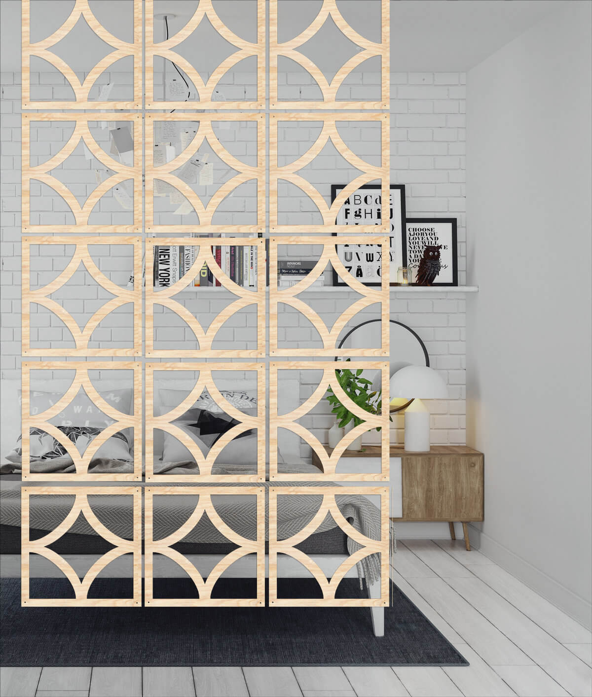 Geometric Decorative Wood Hanging Divider Screen