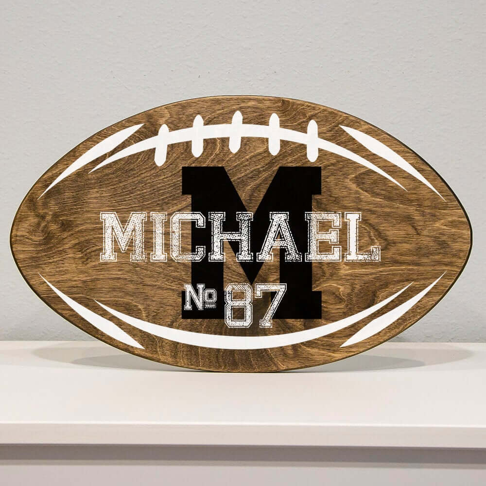 Rustic Football-Shaped Personalized Wooden Sign
