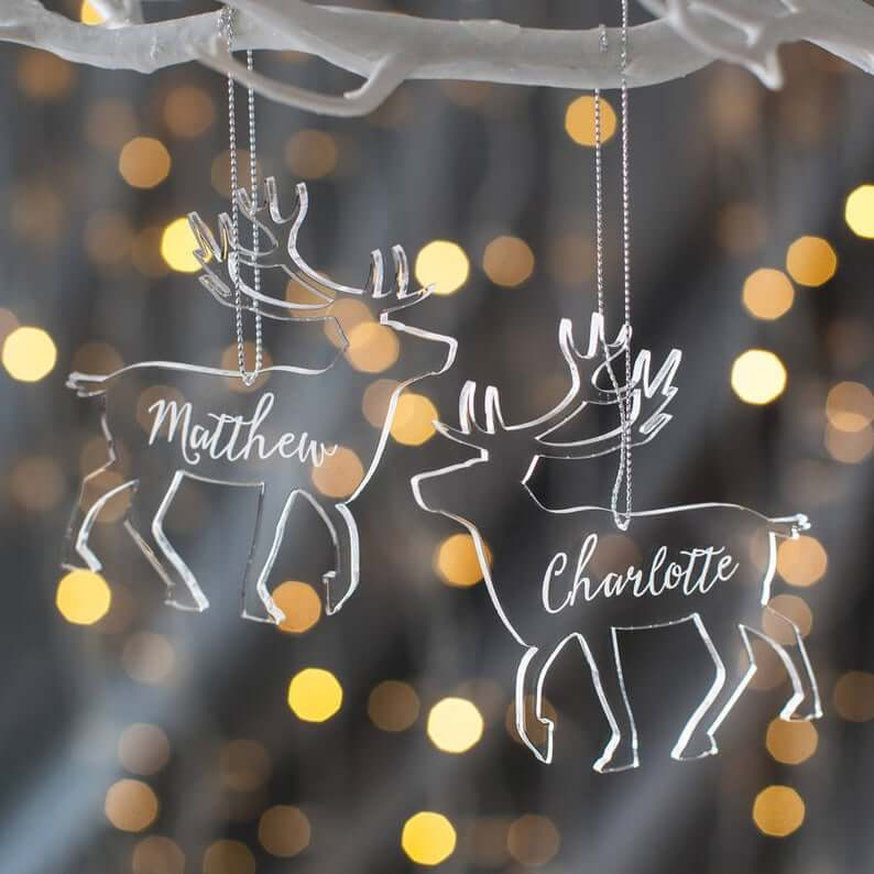 Beautiful Personalized Clear Christmas Reindeer Decoration Idea