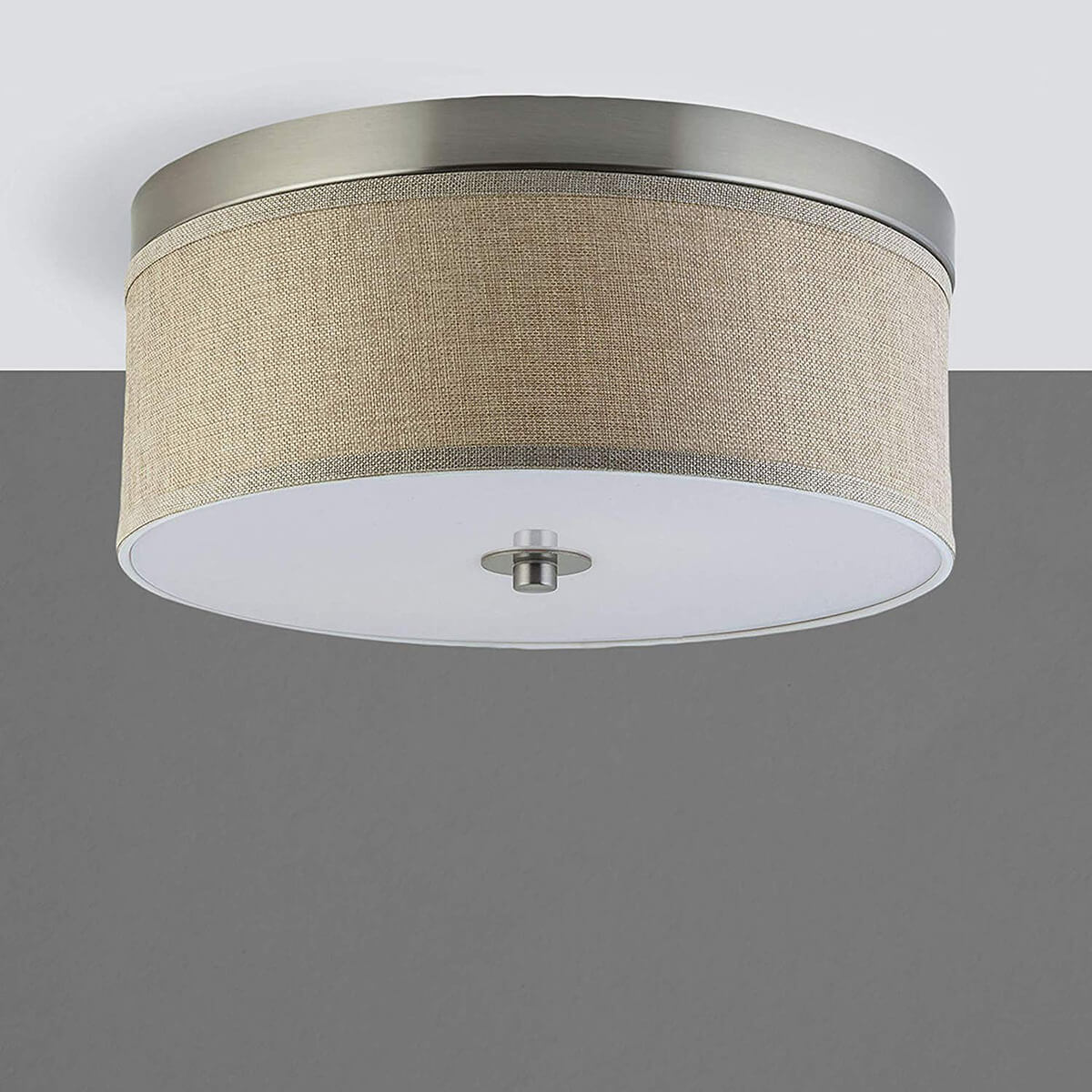 Drum-Style Linen Covered Light
