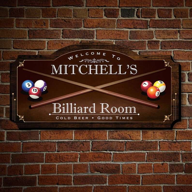 Billiard Room Tailored Wall Art Sign