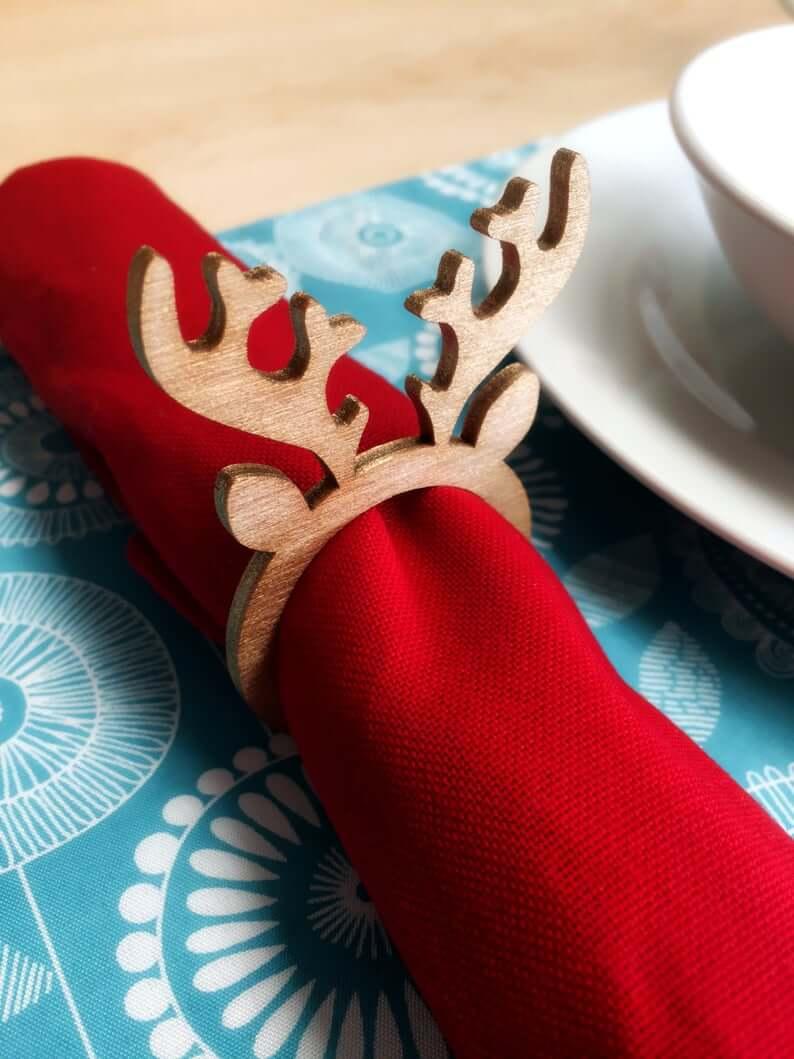 Trendy Wooden Christmas Reindeer Napkin Rings