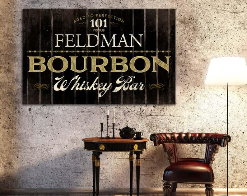Custom-Name Bourbon Lover Man Cave Sign