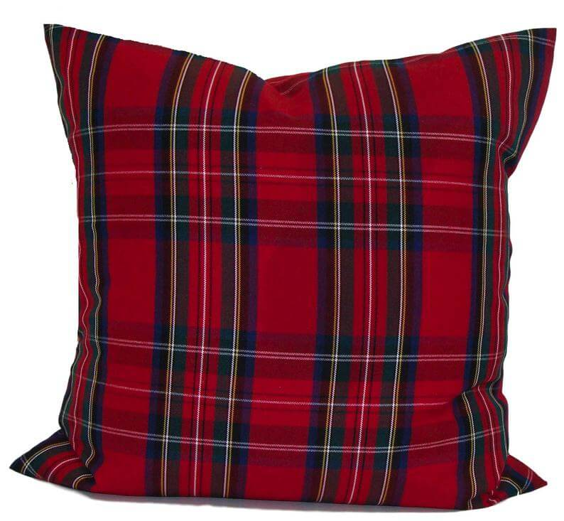 Bold Red Plaid Traditional Christmas Throw Pillow
