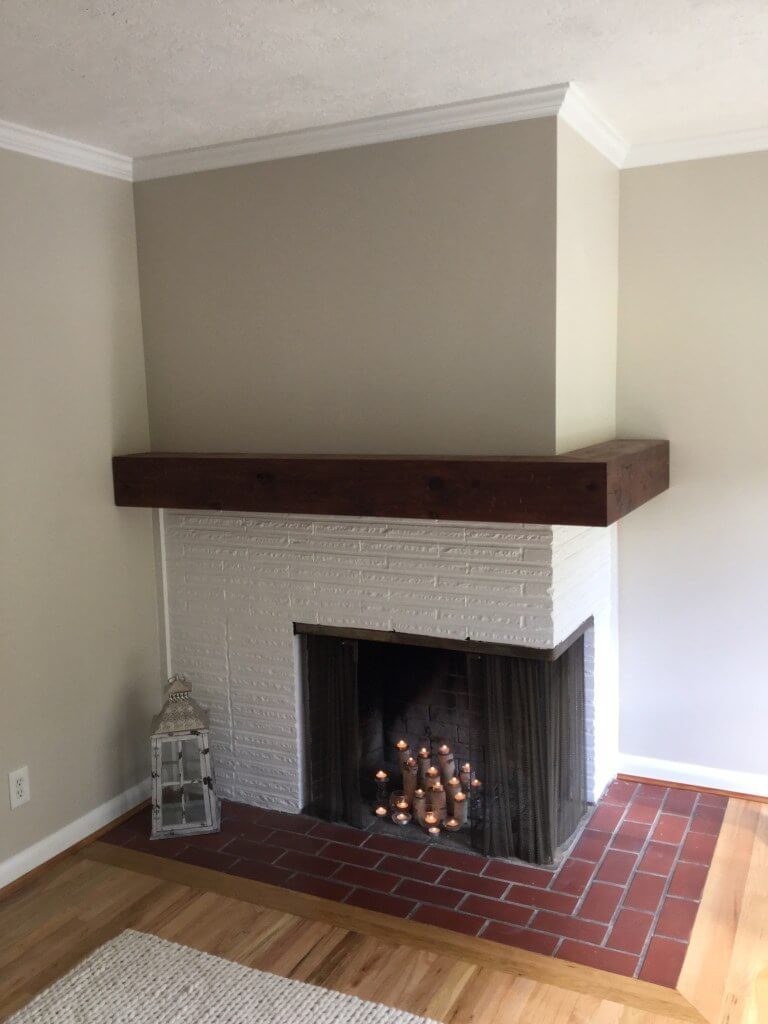 Rustic DIY Corner Fireplace with Wrap-Around Mantel