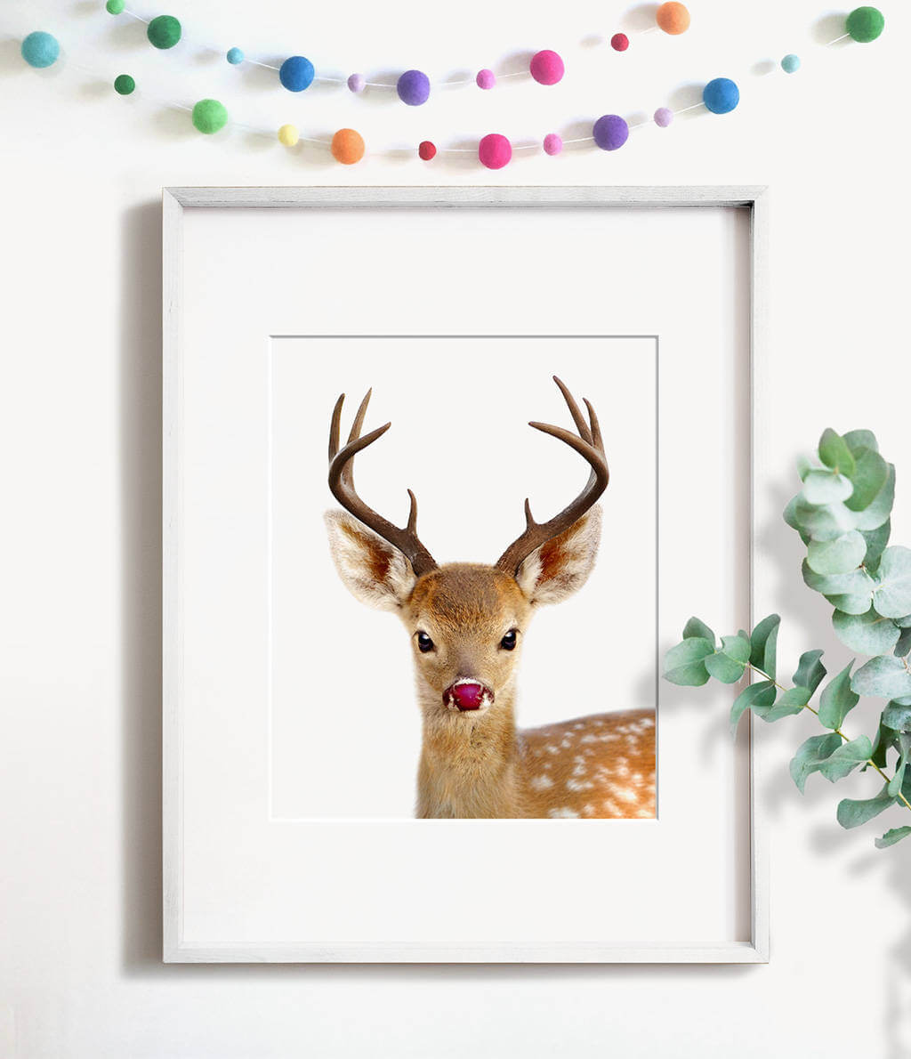 Baby Reindeer with Red Nose Printable Art