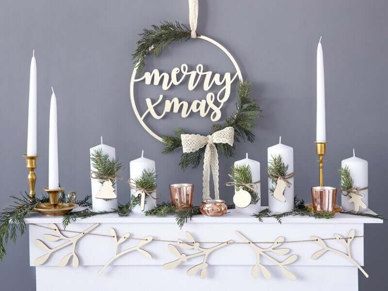 Rustic Wooden Merry Christmas Wreath Sign